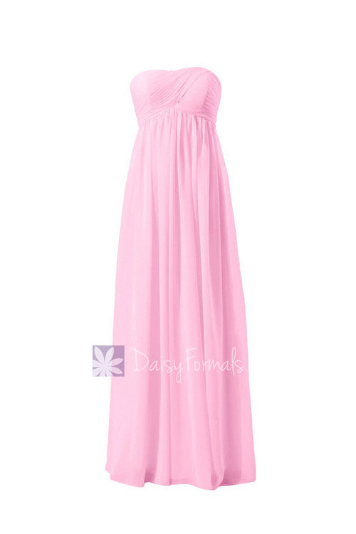 Eye-catching floor length chiffon formal dress empire pink bridesmaid dress(bm10821l)