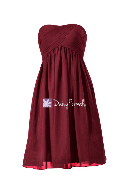Dark scarlet empire bridesmaids dress short knee length party dress beach chiffon dress (bm10821s)