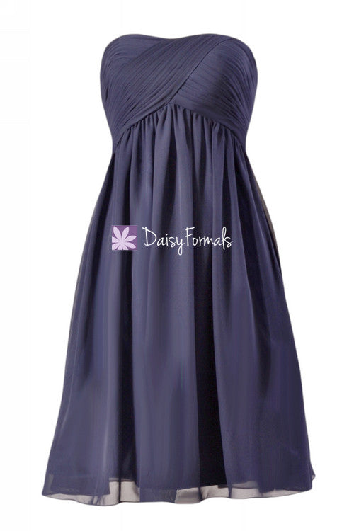Strapless knee length latest bridesmaid dress navy chiffon sweetheart formal dress(bm10821s)