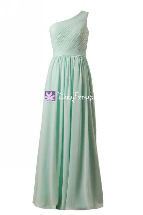 Long one shoulder discount bridesmaids dress vintage mint chiffon party dress formal dress (bm10822l)