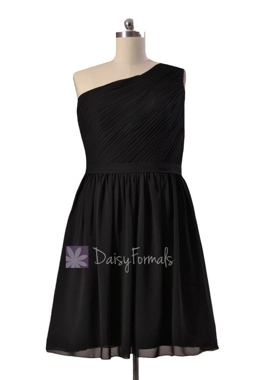 Plus size short one shoulder chiffon bridesmaid dress discount black formal dress(bm10822s)