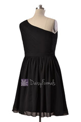 Plus Size Short One Shoulder Chiffon Bridesmaid Dress Black Formal Dress(BM10822S)