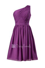 Adorable short one shoulder chiffon bridesmaid dress purple formal dress(bm10822s)