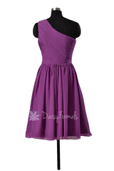 Adorable short one shoulder chiffon bridesmaid dress purple formal dresses(bm10822s)