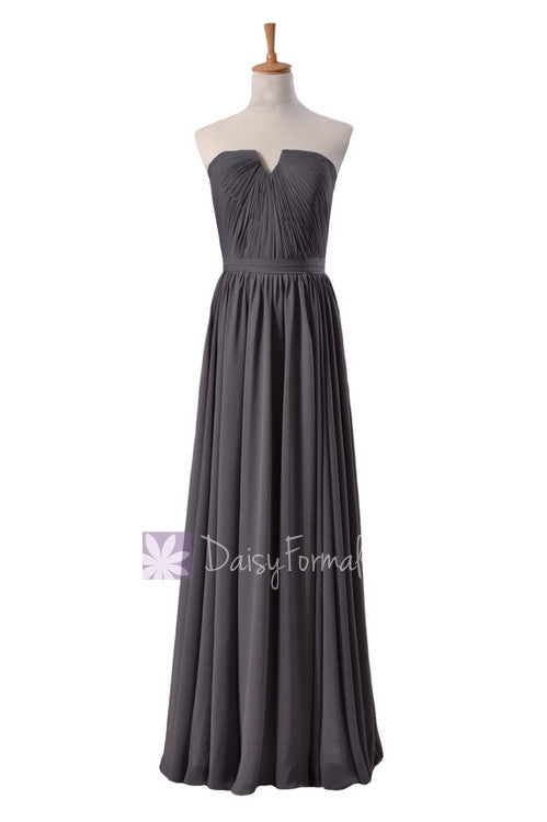 Slate gray chiffon unique bridesmaid dress floor length formal evening dress w/inserted v-neck(bm10823l)