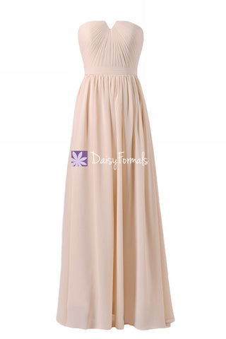 Apricot Peach Chiffon Bridesmaids Dress Long Peach Puff Strapless Party Dress (BM10823L)