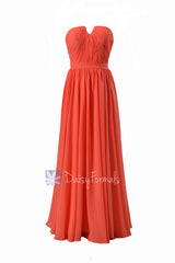 Full length chiffon bridesmaid dress pink orange wedding party dresses w/inserted v-neck(bm10823l)