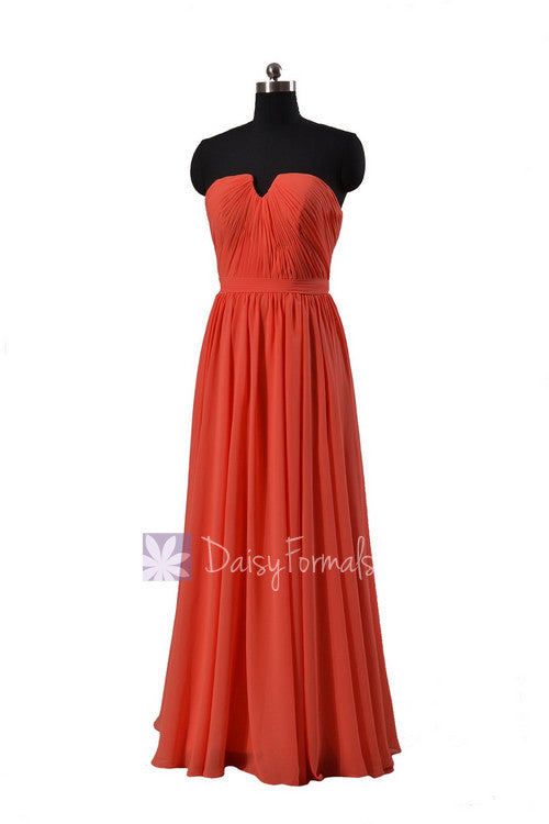 Full length chiffon bridesmaid dress pink orange wedding party dress w/inserted v-neck(bm10823l)