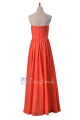Full Length Chiffon Bridesmaid Dress Pink Orange Wedding Dress W/Inserted V-Neck(BM10823L)