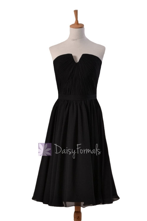 Delicate black chiffon bridal party dress short strapless bridesmaid dress(bm10823s)