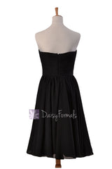 Delicate black chiffon bridal party dress short strapless bridesmaid dresses(bm10823s)