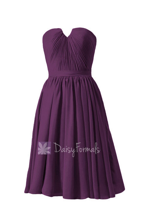 New fashion strapless purple chiffon bridesmaid dress w/inserted v-neck(bm10823s)