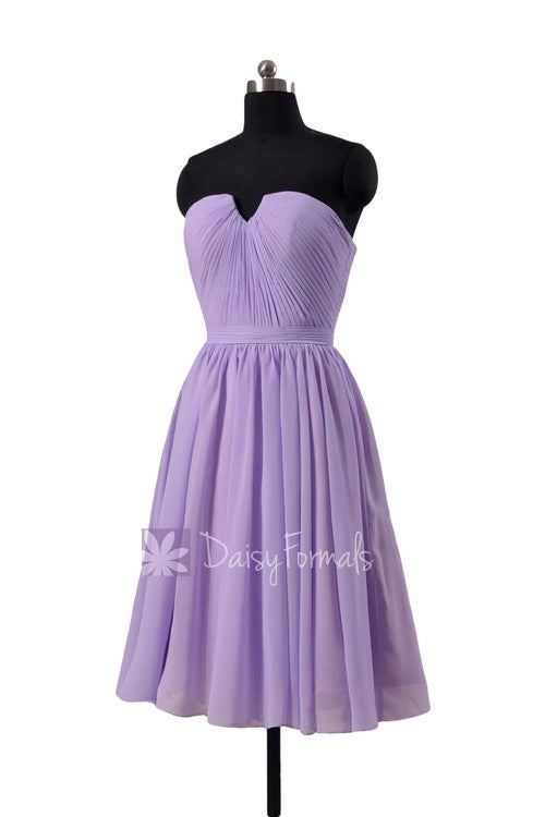 Light mauve short chiffon beach party dress strapless mauve chiffon formal dress(bm10823s)