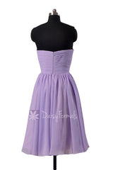 Light mauve short chiffon beach party dress strapless mauve chiffon formal dresses(bm10823s)