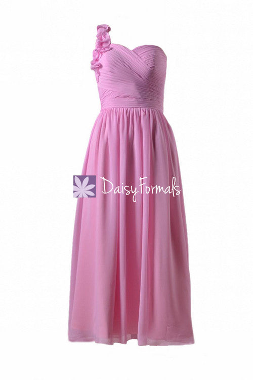 Glamorous cotton pink one shoulder party dress long pink chiffon dress (bm10824al)