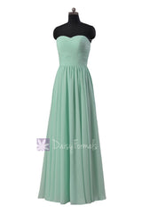 Mint green latest bridesmaid dress floor length chiffon wedding party dress(bm10824l)