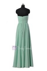 Mint Green Bridesmaid Dress Floor Length Chiffon Wedding Party Dress(BM10824L)