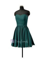 Custom teal cocktail bridesmaid dress online rich peacock strapless chiffon party dress (bm10824n)
