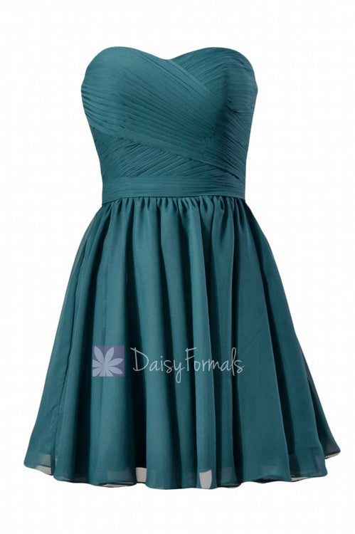 Stylish peacock teal mini skirt strapless chiffon cocktail cheap bridesmaid dress(bm10824n)