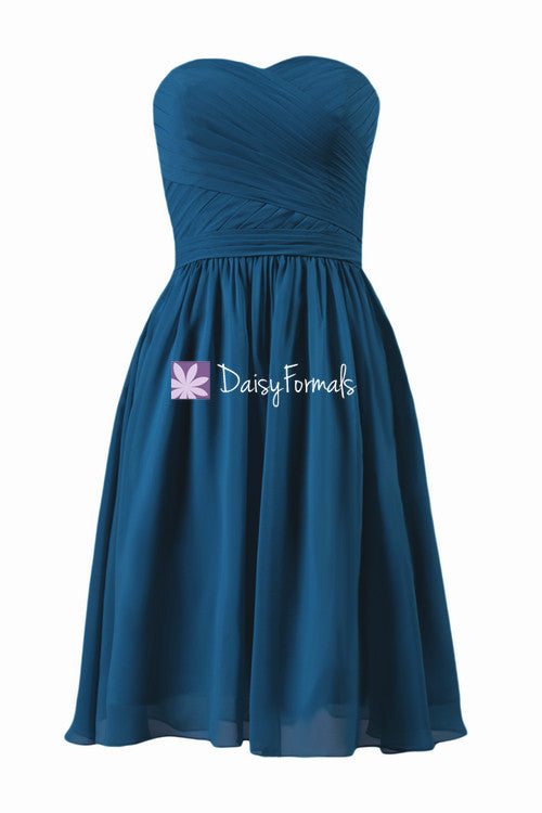 Short peacock blue simple chiffon bridesmaids dress graduation dress party dress (bm10824s)