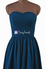 Short Peacock Blue Chiffon Bridesmaids Dress Graduation Dress Party Dress (BM10824S)