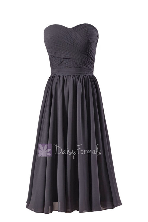 Attractive short length slate gray online bridesmaid dress sweetheart chiffon formal dress(bm10824s)