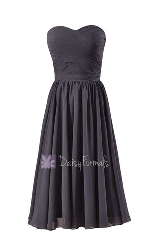 Attractive Short Length Slate Gray Bridesmaid Dress Sweetheart Chiffon Formal Dress(BM10824S)