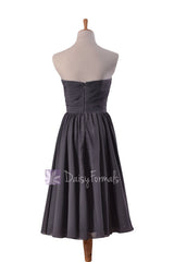 Attractive short length slate gray online bridesmaid dress sweetheart chiffon formal dresses(bm10824s)