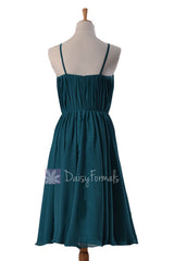 Tiffany's inspired formal bridesmaid dress short beach wedding party dress knee length dresses (bm10826s)