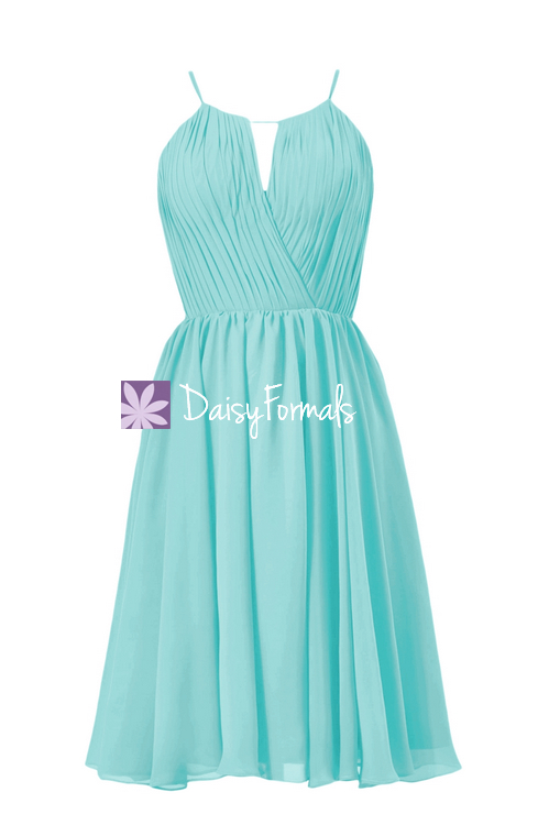 Tiffany's inspired formal bridesmaid dress short beach wedding party dress knee length dress (bm10826s)