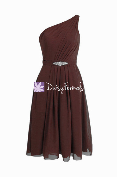 Dark currant one shoulder affordable formal bridesmaid dress mulberry party dress (bm11143)