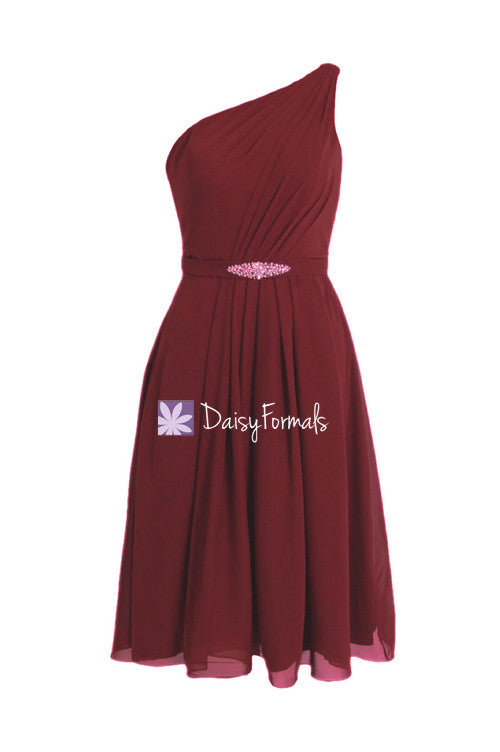 Carmine red formal bridesmaid dress dark red knee length party dress (bm11143)