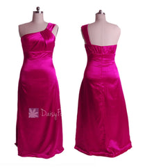 Elegant plus size one shoulder charmeuse bridesmaid dress in custom hot pink(bm11166)