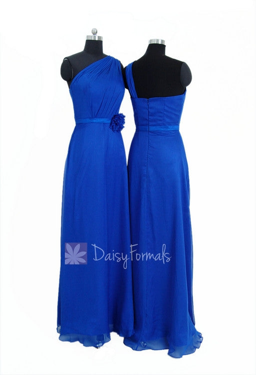 Floor length elegant royal blue chiffon bridesmaid dress one shoulder evening dress(bm11185)