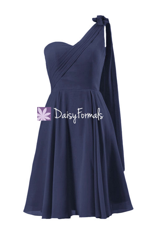 Grecian one shoulder dress knee length beach wedding formal party gown navy party dress(bm1202)