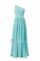 Tiffany blue one-shoulder long bridal party dress turquoise bridesmaid dress(bm122)