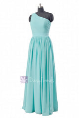 Tiffany blue one-shoulder long bridal party dress turquoise bridesmaid dresses(bm122)