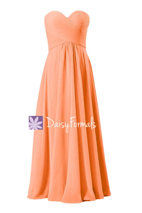 Popular orange chiffon wedding party dress long fresh orange formal dress(bm2442)