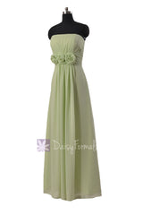 Floor length unique chiffon bridesmaid dress tea green long formal dresses w/flowers(bm122b)