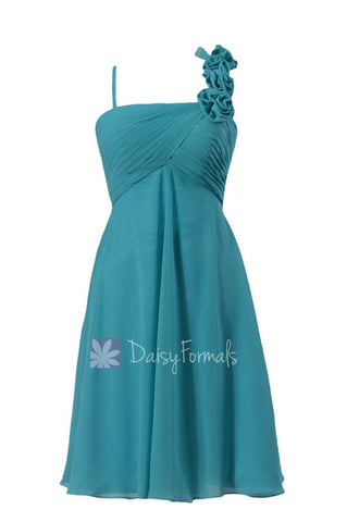 In stock,Ready to Ship - Short Chiffon Bridesmaid Dress W/Floral Strap(BM2454S) - (#44 Cyan)
