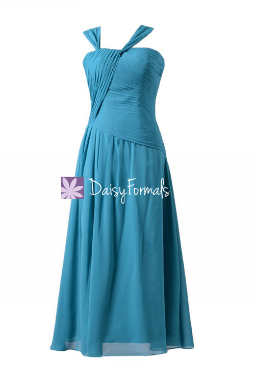 Green-blue chiffon bridesmaid dress long turquoise one shoulder strap evening party dress(bm124)