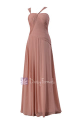 Chic long dusty rose asymmetric chiffon bridesmaid dress formal dress party dress (bm124)