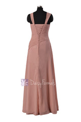 Chic long dusty rose asymmetric chiffon bridesmaid dress formal dress party dresses (bm124)