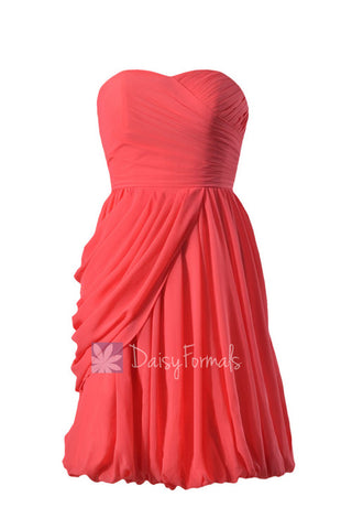 Cherry Bridesmaid Dress Short Sweerheart Bridal Party Dress Chiffon Cocktail Dress(BM130)
