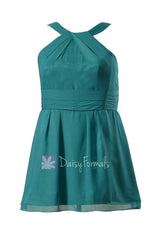 Plus size unique chiffon bridesmaid dress knee length pine green bridal party dress(bm131230)