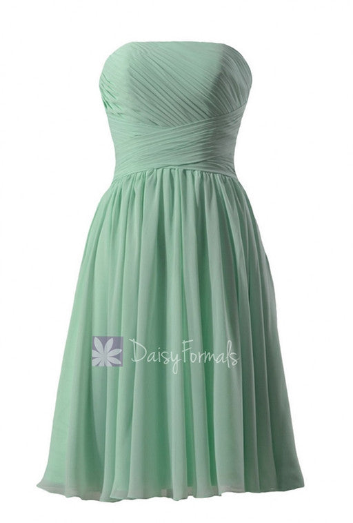 Elegant mint strapless chiffon bridesmaid dress short prom dress cocktail dress(bm132)