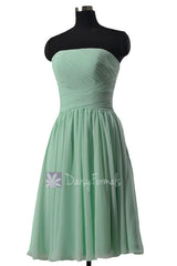 Elegant mint strapless chiffon bridesmaid dress short prom dress cocktail dresses(bm132)