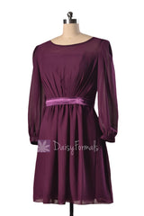 Purple chiffon bridesmaid dress online short byzantium formal dresses w/long sleeves(bm133)