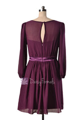 Purple Chiffon Bridesmaid Dress Short Byzantium Formal Dress W/Long Sleeves(BM133)