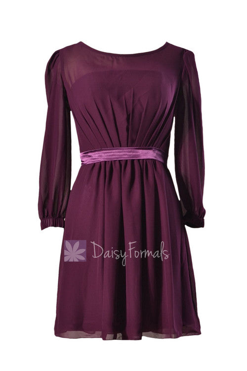 Purple chiffon bridesmaid dress online short byzantium formal dress w/long sleeves(bm133)